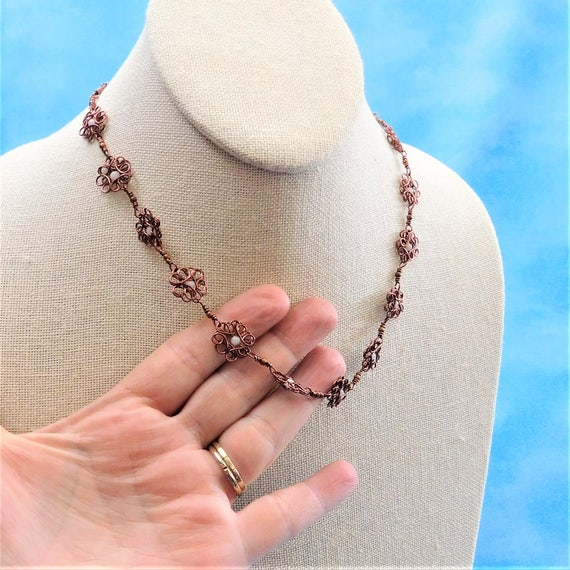 Copper Flower Necklace, Unique Artisan Crafted Sculpted Wire Wrapped Jewelry,  Artistic Handmade Wearable Art, Mother in Law Gift Ideas
