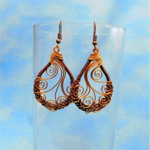 Rustic Boho Earrings Unique Woven Copper Wire Wrapped Artisan Crafted Handmade Artistic Jewelry Birthday Anniversary Present Ideas for Women