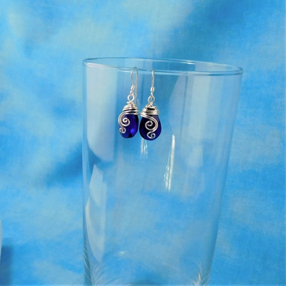 Royal Blue Teardrop Dangle Earrings, Artisan Crafted Fire Polished Czech Glass Jewelry, Present Ideas for Girlfriend, Wife or Gift for Mom