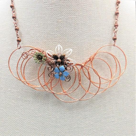 Flower Statement Necklace, Unique Wire Wrap Jewelry, Romantic Girlfriend Gift Artistic Handmade Wearable Art Birthday Present Idea for Women