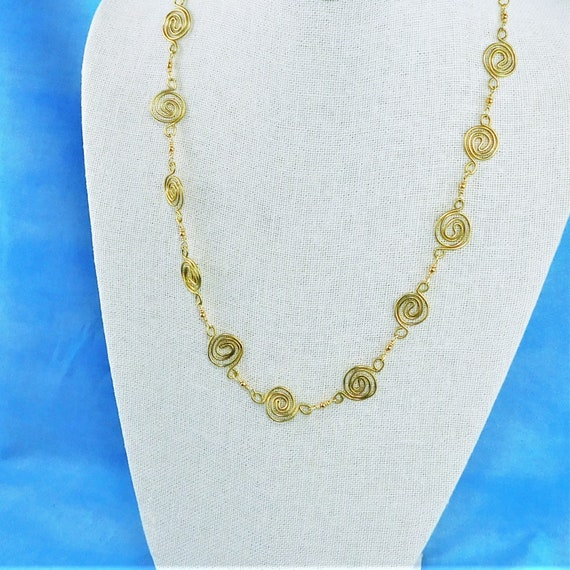 Gold Wire Wrapped Sculpted Coil Necklace, Handcrafted Wearable Art Jewelry Present for Wife, Mom or Mother in Law Gift