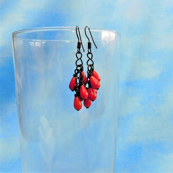 Red Coral Earrings, Unique Handcrafted Teardrop Cluster Dangles, Artisan Crafted Jewelry Birthday or Christmas Present Ideas for Women