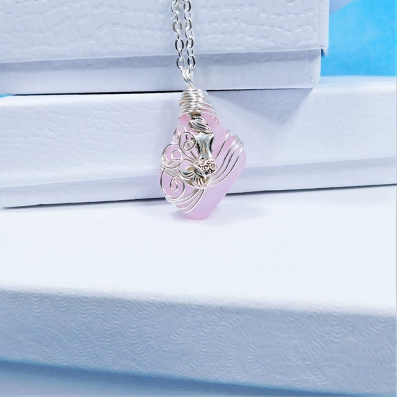 Artisan Crafted Pink Sea Glass Mermaid Necklace, Unique Wire Wrapped Wearable Art, Artistic Ocean Pendant Beach Theme Jewelry Present