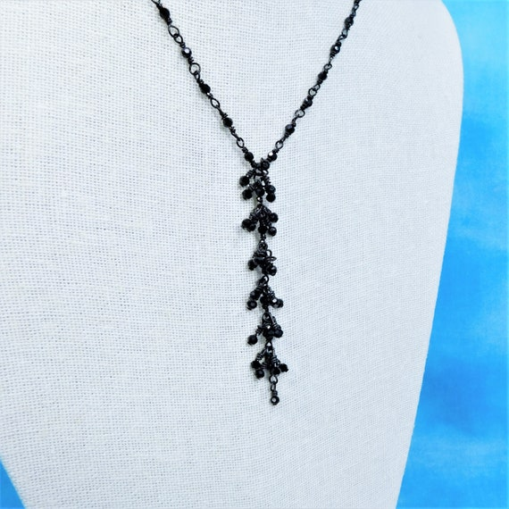 Long Black Bead Necklace with Beaded Crystal Tassel, Wire Wrapped Beaded Link Necklace for Women
