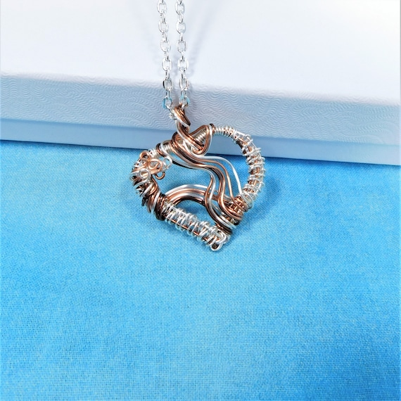 Artistic Woven Wire Heart Necklace, Handcrafted Copper Anniversary Pendant Present, Wearable Art Jewelry 7th Anniversary Gift for Wife