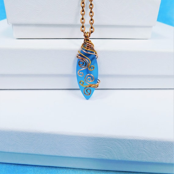 Artistic Blue Sea Glass Necklace, Unique Wire Wrapped Artisan Crafted Pendant, Wearable Art Jewelry Present Idea for Beach or Ocean Lover