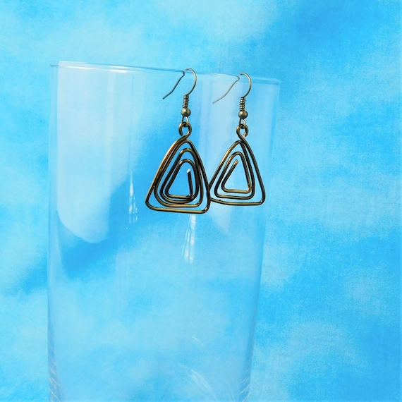 Geometric Triangle Shaped Dangle Earrings, Unique Wire Wrapped Wearable Art Jewelry, Birthday or Anniversary Present or Mother in Law Gift