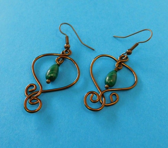 Malachite Earrings Gemstone Dangles Unique Wire Wrapped Artistic Artisan Crafted Sculpted Copper Jewelry Birthday Anniversary Present Ideas