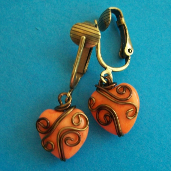 Non Pierced Earrings Unique Wire Wrapped Orange Ceramic Heart Clip-on Dangles Present Ideas for Women Girlfriend Wife Daughter Mother in Law