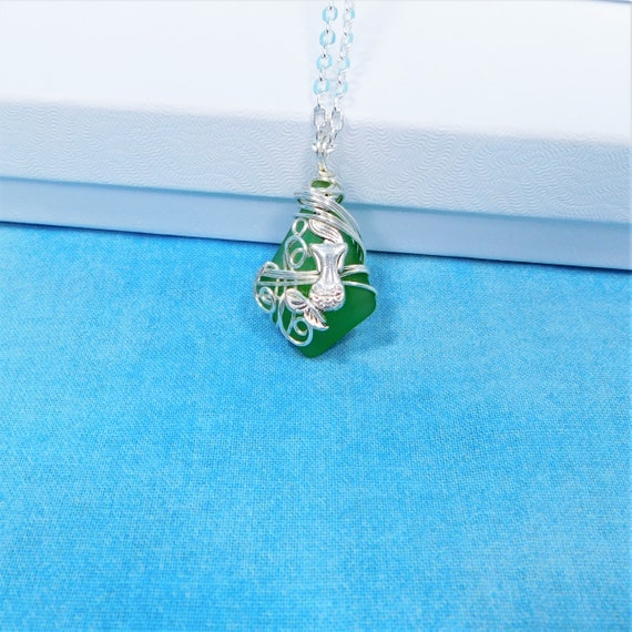 Artisan Crafted Green Sea Glass Mermaid Necklace, Unique Wire Wrapped Wearable Art, Artistic Ocean Pendant Beach Theme Jewelry Present