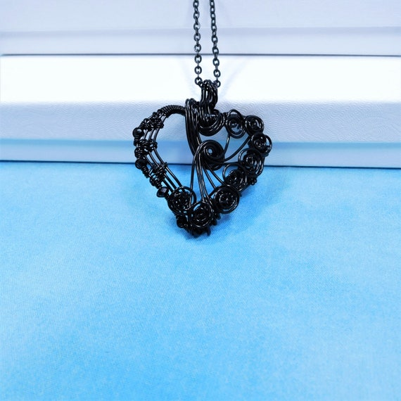 Artistic Black Heart Necklace, Woven Wire Heart Pendant, Handcrafted Jewelry Anniversary Gift or Birthday Present for Wife or Girlfriend