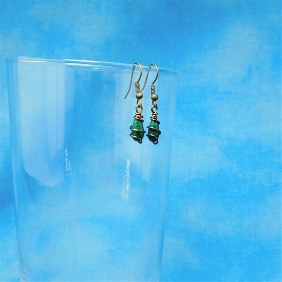 Unique Wire Wrapped Malachite Earrings, Artistic Handmade Gemstone Dangles, Artisan Crafted Copper Jewelry Birthday or Anniversary Present