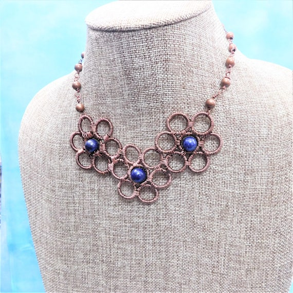 Lapis Lazuli Pendant, Artisan Crafted Flower Gemstone and Copper Statement Jewelry, Unique Wire Wrapped Artistic Handmade Present for Women