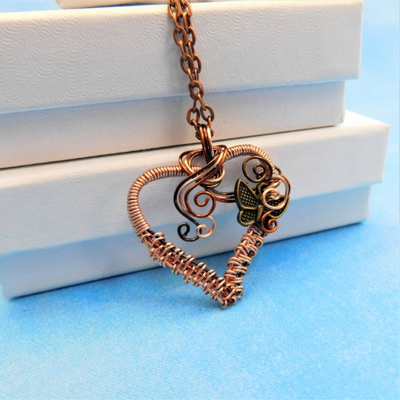 Woven Wire Butterfly Pendant Sympathy Gift Necklace, Artisan Crafted Rustic Copper Heart Pendant, Artistic Jewelry for Bereavement Present