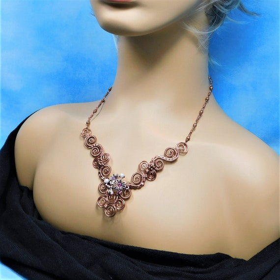 Copper Scroll Work Bib Necklace, Unique Wire Wrapped Copper Statement Jewelry, One of a Kind Wearable Art, Artistic Present for Women