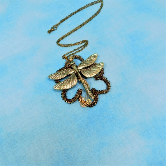 Large Boho Dragonfly Necklace, Artisan Crafted Statement Jewelry, Unique Woven Wire Wrapped Flower Pendant, Artistic Handmade Gift for Her