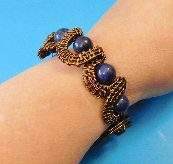 Artistic Lazuli Bracelet Woven Copper Wire Gemstone Jewelry, Wearable Art Cuff Bracelet Stone Jewelry Birthday Present or Mother's Day Gift