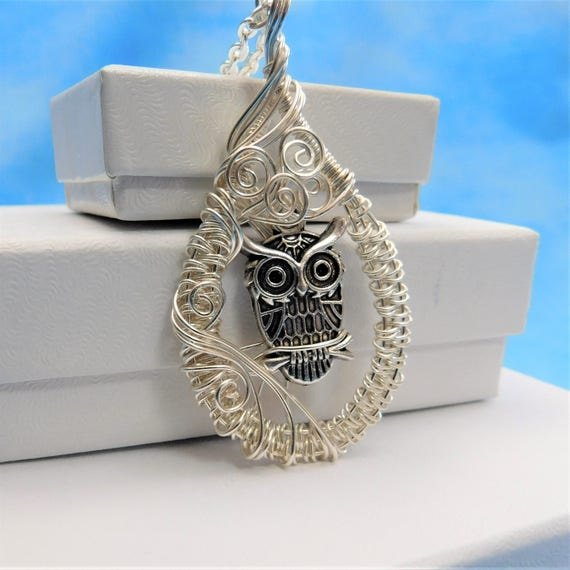 Artistic Owl Necklace, Artisan Crafted Woven Wire Wrapped Bird Theme Pendant, Unique Handmade Wearable Art Jewelry Present Ideas for Women