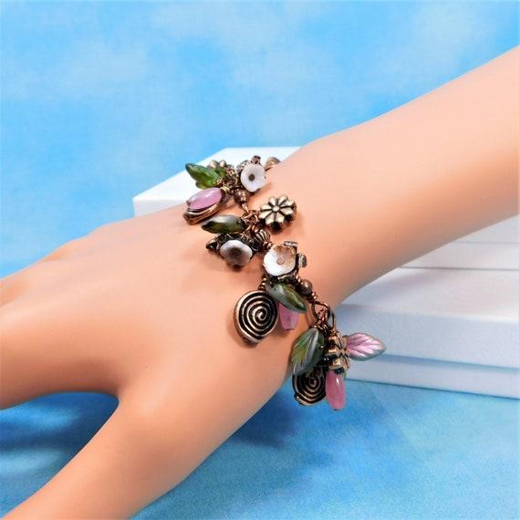 Copper Flower Beaded Bracelet Best Friend Gift or Anniversary Gift for Wife, Romantic Gemstone Bracelet Birthday Present for Girlfriend