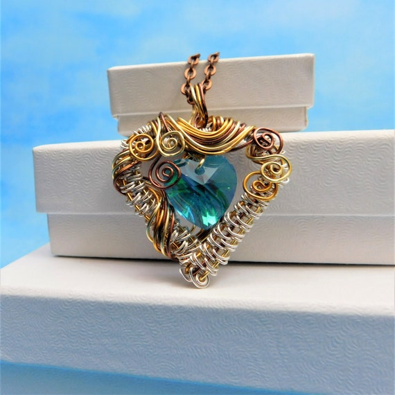 Blue Heart Necklace, Unique Artisan Crafted Woven Wire Wrapped Jewelry, Copper & Crystal Artistic Pendant, Wearable Art Present Idea for Mom