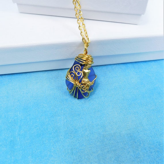 Unique Wire Wrapped Mermaid Sea Glass Necklace, Artisan Crafted Blue Beach Theme Jewelry, Artistic Handmade Ocean Pendant Wearable Art