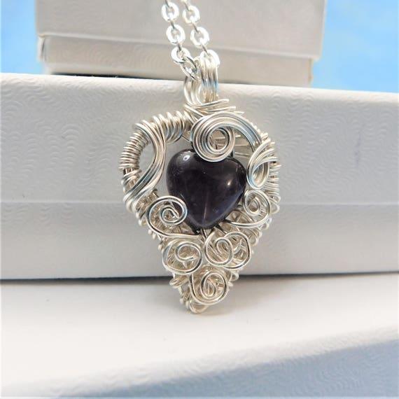 Wire Wrapped Amethyst Pendant, February Birthstone Necklace, Unique Gemstone Heart Jewelry, Artistic Handmade Wearable Art, Birthday Idea