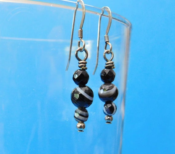 Black Onyx Earrings Unique Gemstone Jewelry Simple Dangles Banded Stone Striped Gem Black and White Drops Handcrafted Present Idea for Women