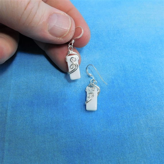 Small White Mother of Pearl Wire Wrapped Earrings, Unique Tiny Rectangle Dangles, Wearable Art Jewelry Gift for Women, Present Ideas for Her