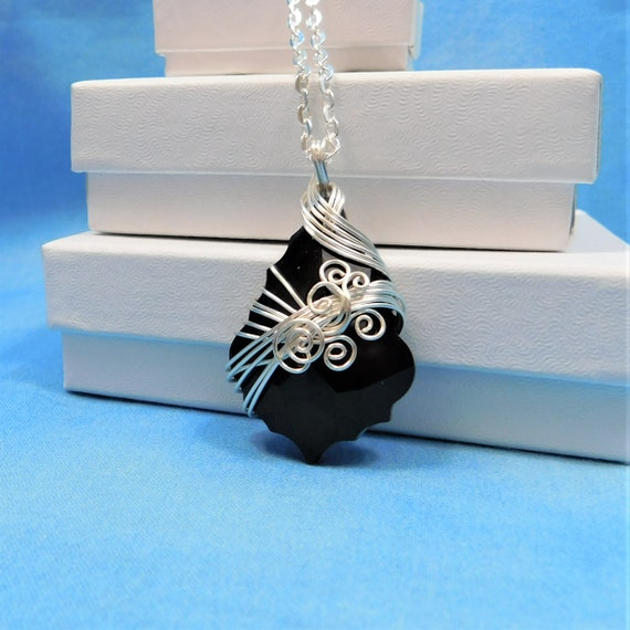 Wire Wrapped Black Crystal Necklace, Unique Artistic Handmade Statement Pendant, One of  Kind Wearable Art Jewelry, Present Ideas for Women