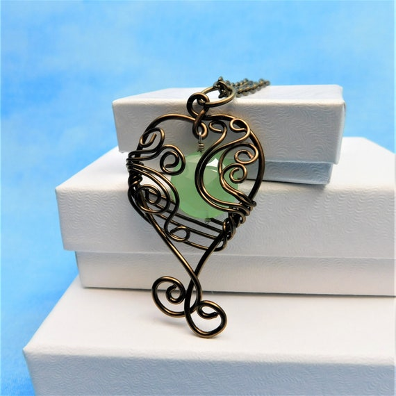 Copper Wire Wrapped Stone Artistic Handmade Jewelry Unique Artisan Crafted Green Chalcedony Gemstone Pendant Special Present Ideas for Women