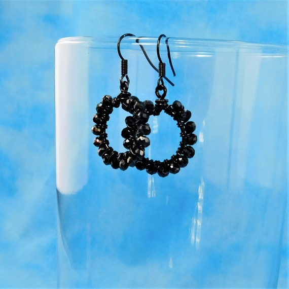 Small Black Crystal Hoop Earrings, Unique Wire Wrapped Artistic Jewelry, Handcrafted Present Ideas for Girlfriend, Wife, or Mother in Law