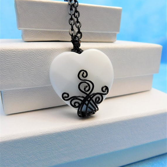 White Onyx Necklace Gemstone Pendant Unique Artisan Crafted Artistic Wire Wrap Handmade Heart Shaped Stone Jewelry Present Ideas for Women