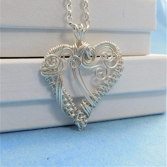 Wire Wrapped Heart Pendant, Unique Artisan Crafted Necklace, One of a Kind Wearable Art Jewelry, Artistic Handmade Present Ideas for Women