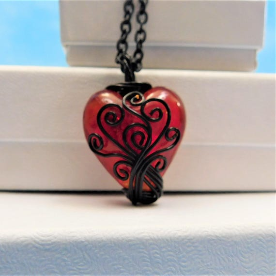 Black Wire Wrapped Red Heart Necklace Handmade Pendant, Artisan Crafted Wearable Art Jewelry Gift for Anniversary or Birthday Present