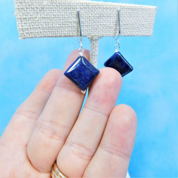 Lapis Lazuli Diamond Shaped Non Pierced Earrings, Artistic Clip on Gemstone Dangles, Jewelry Birthday Present  or Anniversary Gift for Wife