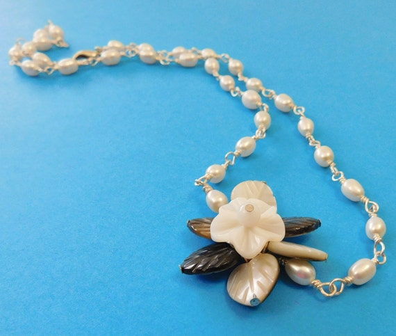 Freshwater Pearl Flower Necklace Hand Wired Artisan Crafted Artistic Handmade June Birthstone Birthday Anniversary Present Ideas for Women