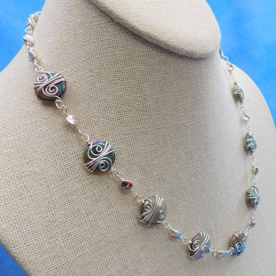 Artisan Crafted Wire Wrapped Mother of Pearl Necklace, Unique Handcrafted Wearable Art Jewelry, One of a Kind Christmas Present Ideas