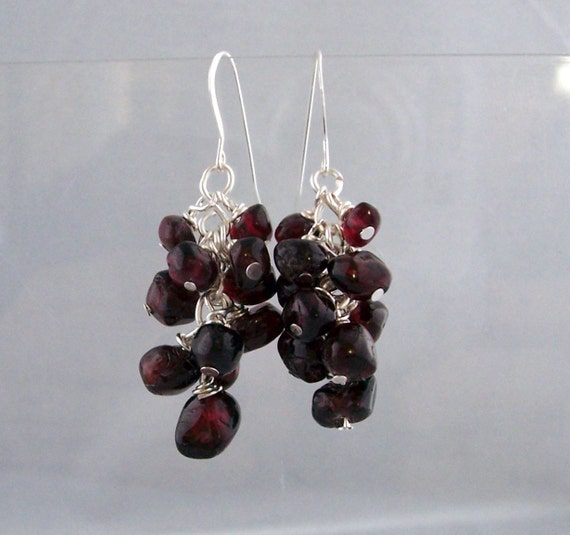 Unique Wire Wrapped Garnet Earrings, Artisan Crafted Gemstone Cluster Dangles, January Birthstone Jewelry, Birthday Anniversary Present Idea