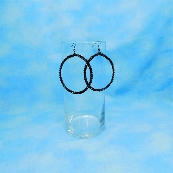 Big Hoop Earrings, Wire Wrapped Artistic Jewelry, Large Black Crystal Hoops for Wife, Girlfriend, Mom or Mother in Law Gift