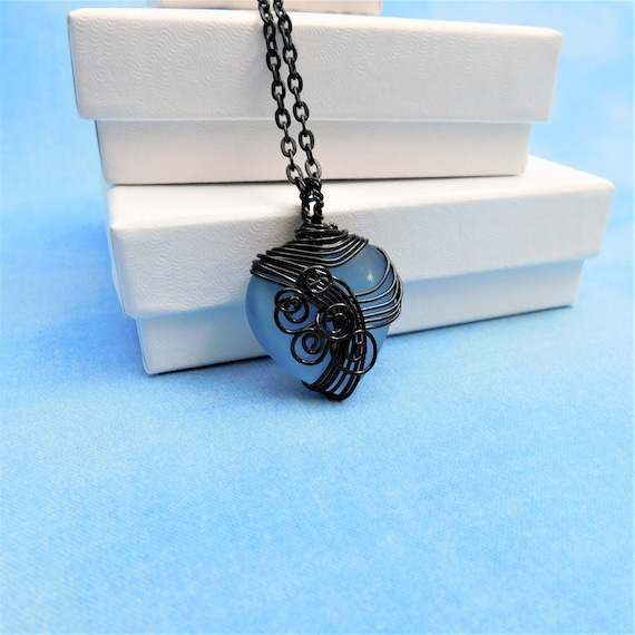Black Wire Wrapped Blue Heart Necklace, Unique Wearable Art Jewelry, Artistic Pendant for Ladies Birthday or Anniversary Present for Women