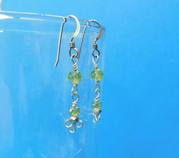 Peridot Earrings, Unique Gemstone Jewelry, August Birthstone, Simple Wire Wrapped Dangles, Artistic Handcrafted Birthday, Christmas Present