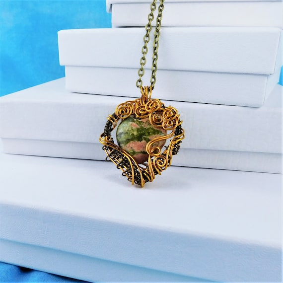 Wire Wrapped Heart Shaped Unakite Necklace, Unique Green Gemstone Pendant Present for Wife, Artisan Crafted  Wearable Art Jewelry Gift Ideas