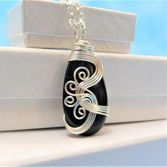 Unique Wire Wrapped Black Onyx Pendant, Artisan Crafted Necklace, Artistic Handmade Gemstone Jewelry, One of a Kind Present Ideas for Women