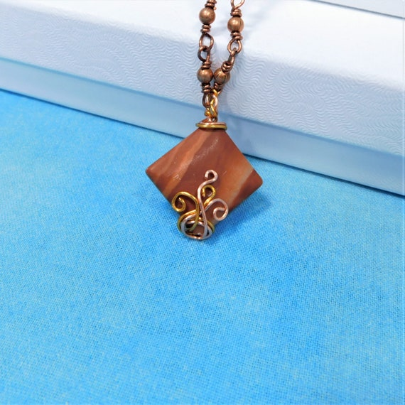 Unique Wire Wrapped Terracotta Tile Pendant, Wearable Art Jewelry Present for Women, Gift for Mom, Mother in Law, Sister or Best Friend