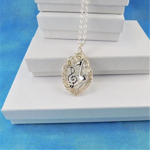Treble Clef Necklace, Music Teacher Gift, Musician Jewelry, Music Note Pendant, Present Ideas for Women, Wife, Mom, Mother in Law Gift