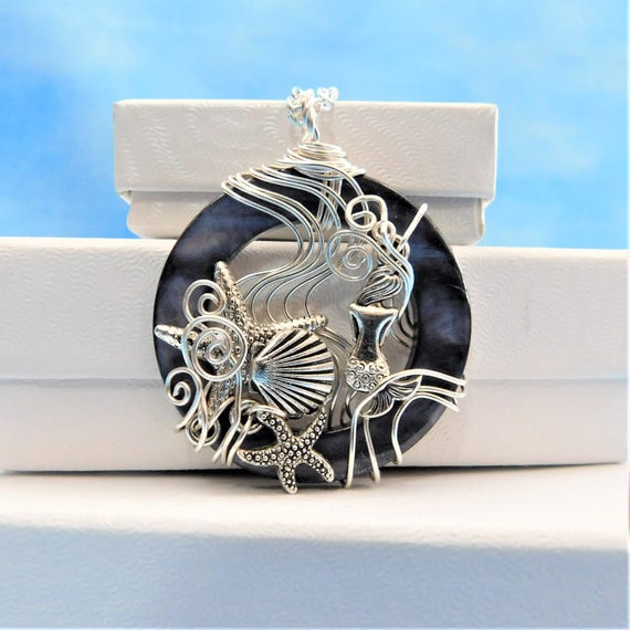 Mermaid Necklace Jewelry Gift Artisan Crafted Artistic Pendant Under the Sea Beach Theme Unique Wire Wrap Handmade Present for Girlfriend