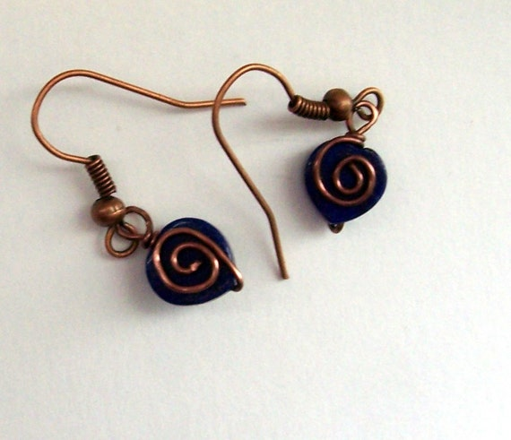 Lapis Lazuli Earrings Blue Gemstone Heart Dangles Unique Handmade Copper Wire Wrapped Wearable Art Jewelry Birthday Present Ideas for Women