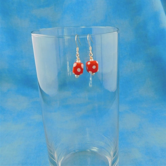 Red Polka Dot Dangles, Small Cube Earrings for Pierced Ears, Whimsical Handmade Jewelry Gift for Women, Fun Christmas or Birthday Present