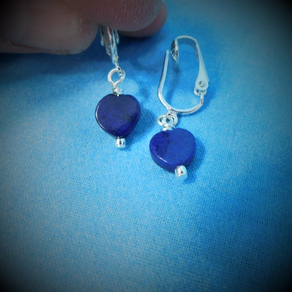 Lapis Lazuli Heart Shaped Non Pierced Earrings, Artistic Clip on Gemstone Dangles, Jewelry Birthday Present  or Anniversary Gift for Wife