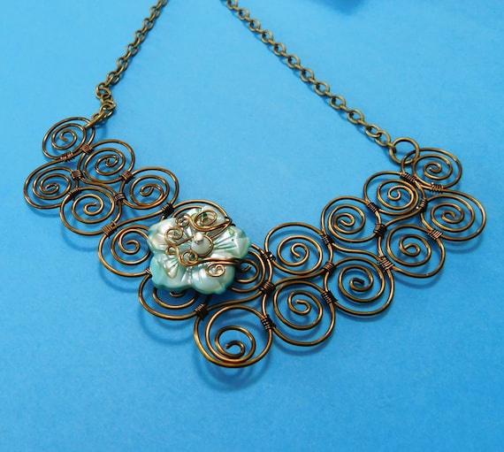 Wire Wrapped Scroll Work Bib Statement Necklace, Unique Artisan Crafted Flower Jewelry, Artistic Handmade Wearable Art Mothers Day Present